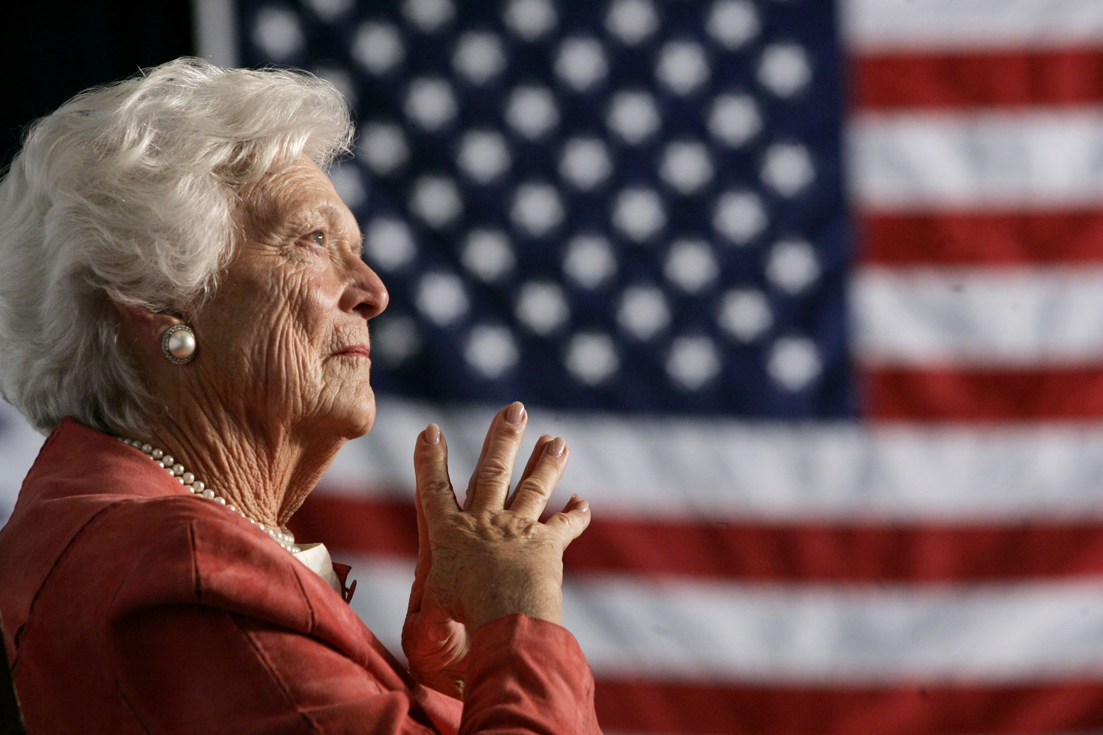Barbara Bush US flag