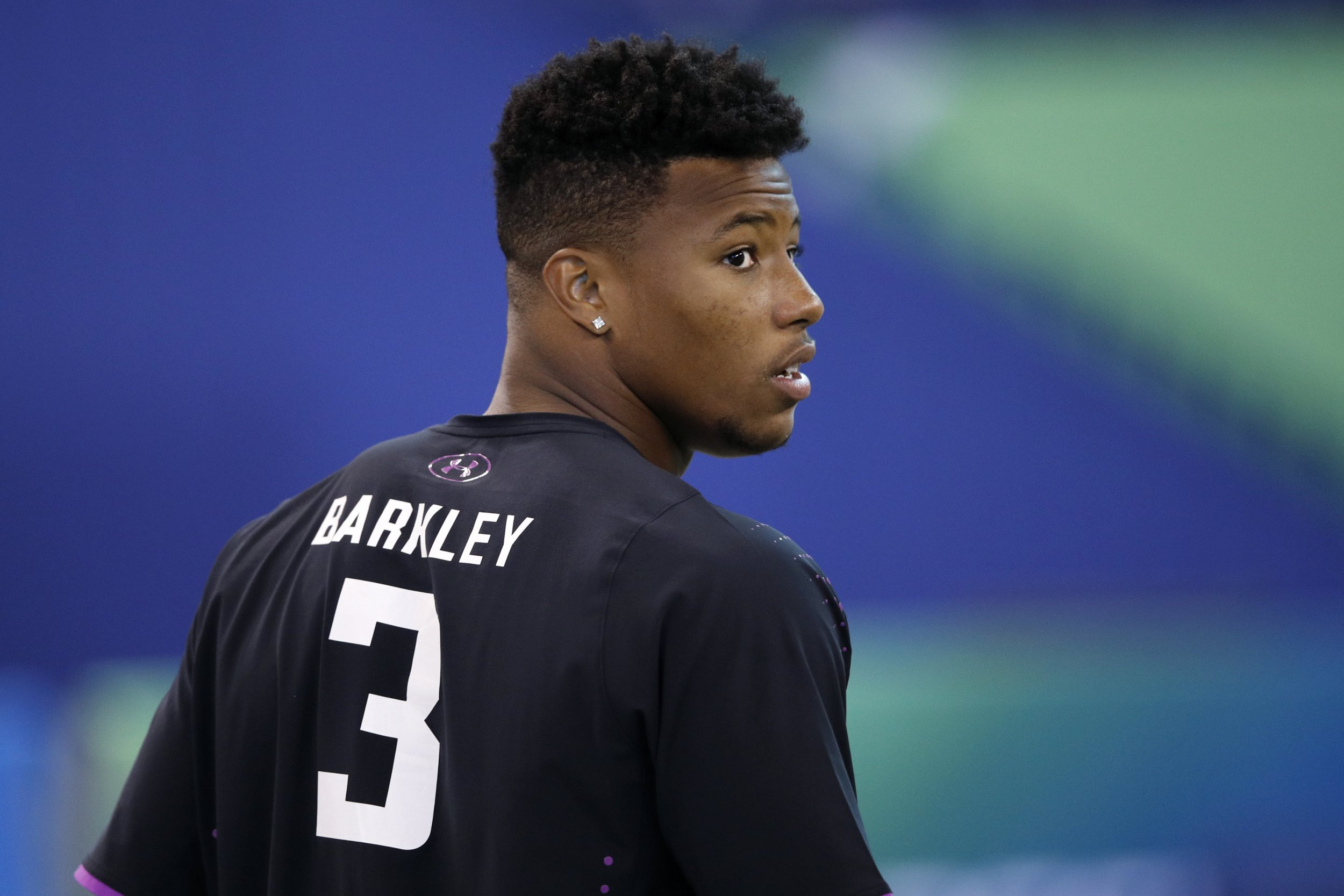 GettyImages-926386134 Penn State running back Saquon Barkley looks on  during the 2018 NFL Combine ... aa4b89e7b