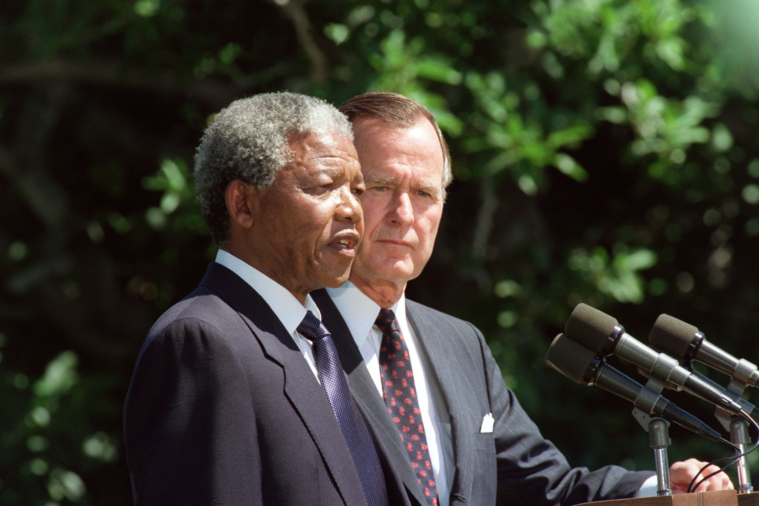 Bush with Mandela