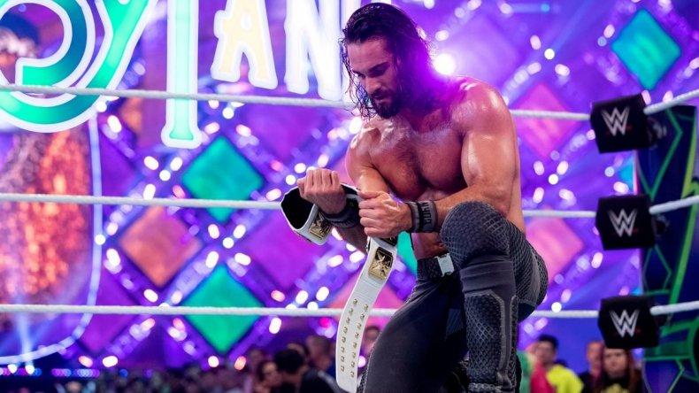 seth rollin swins ic belt wrestlemania 34