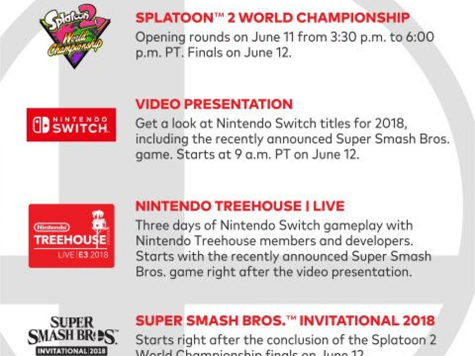 Nintendo E3 2018 Schedule Released: Super Smash Bros  Gets