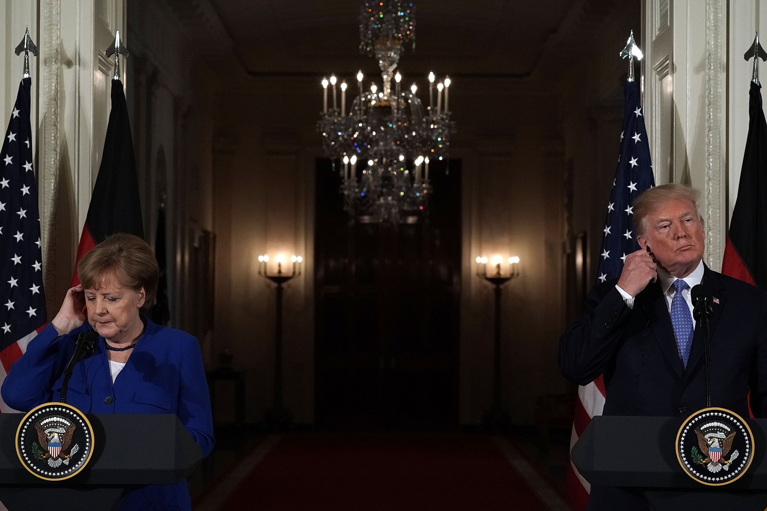 Angela Merkel and Donald Trump, April 2018