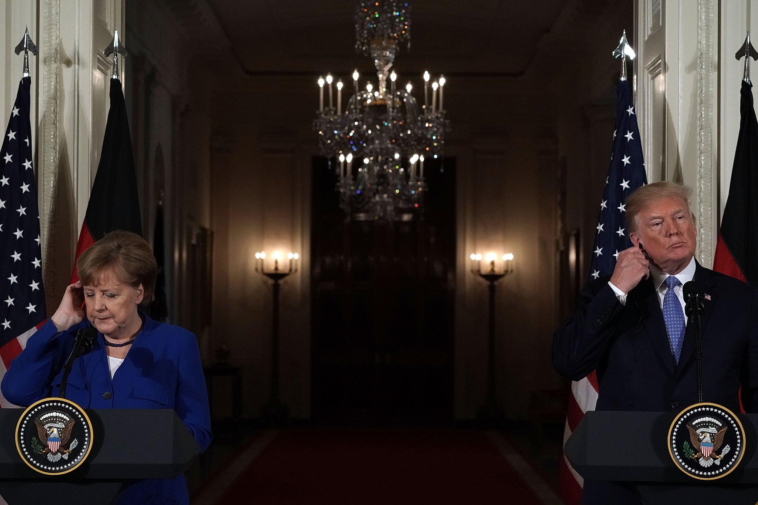Angela Merkel and Donald Trump, April 2018