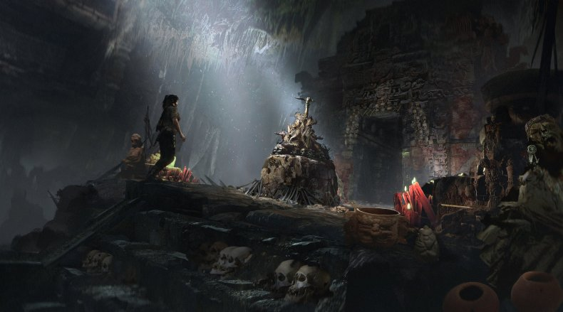 lara explores a tomb in shadow of the tomb raider
