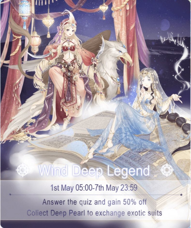 Love, nikki, wind, deep, legend, event, guide, quiz, answers, sun, sunscreen, ancient, prophecy, swordsman, stage, battles, suits, cost