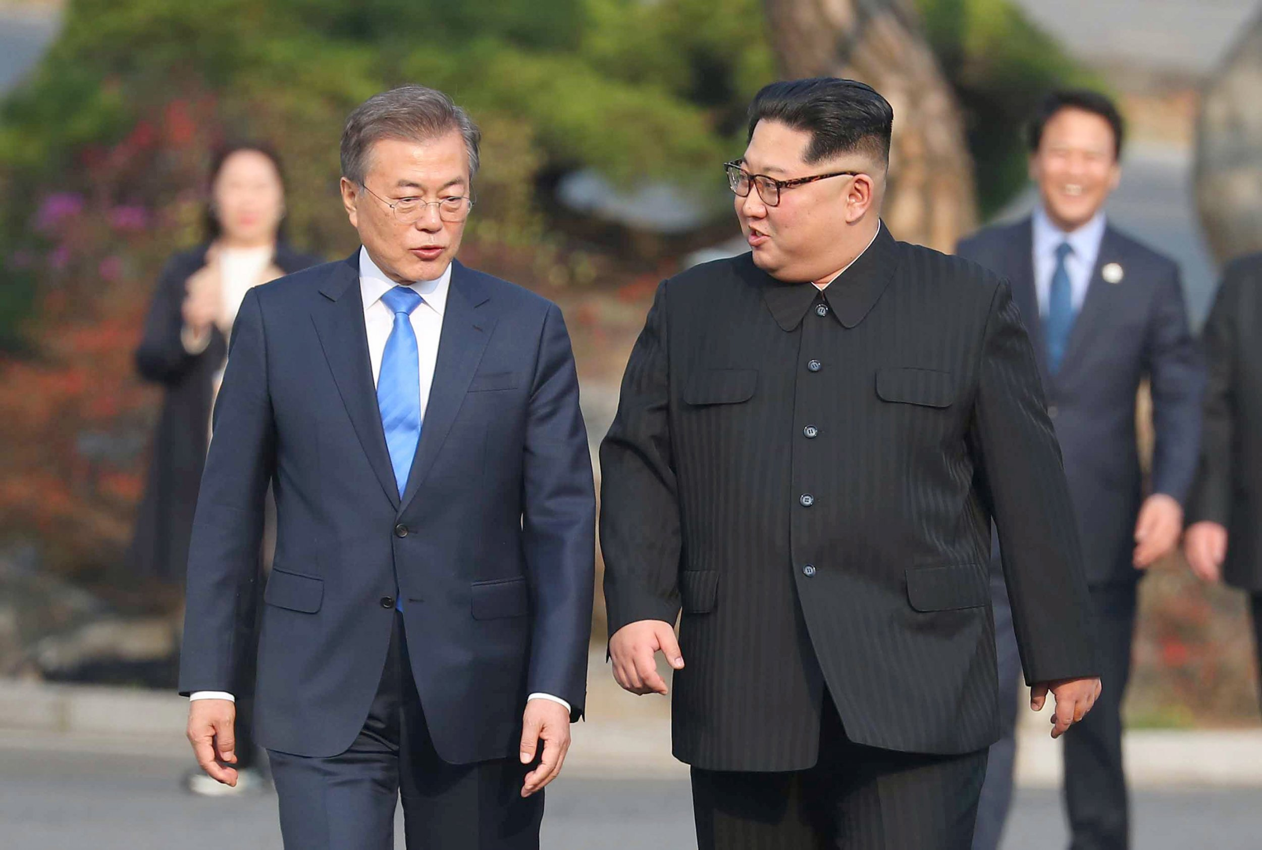 North Korea's Kim Jong Un and South's Korea's Moon Jae-in hold surprise meeting to rescue plans for Trump summit