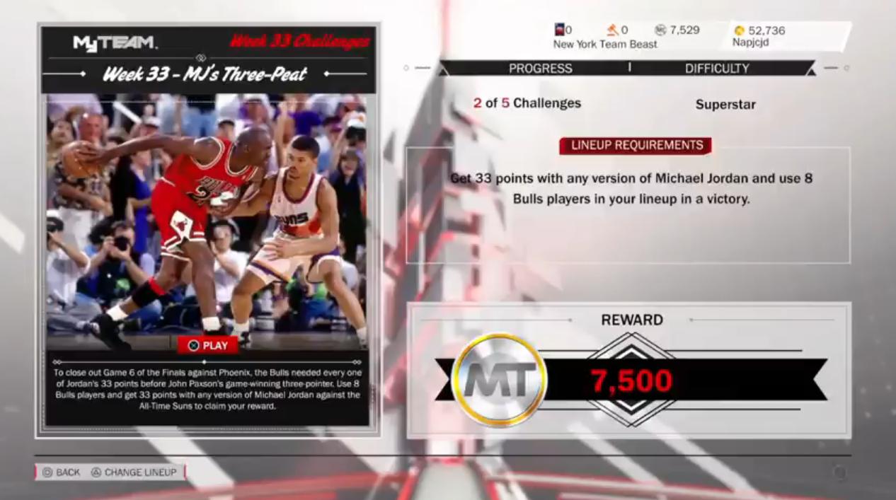 NBA 2k18 weekly challenge 33