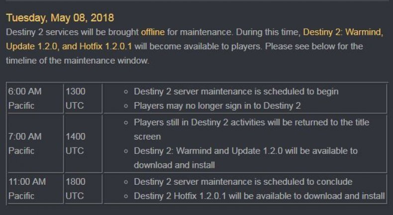destiny-2-warmind-expansion-release-date-schedule what, time, update, start, launch