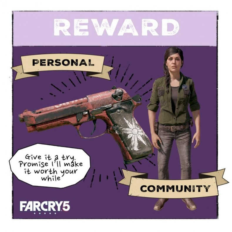 arcade-noon-far-cry-5-rewards live, event guide, get, red, flag, m9, marshall, deputy, outfit, community