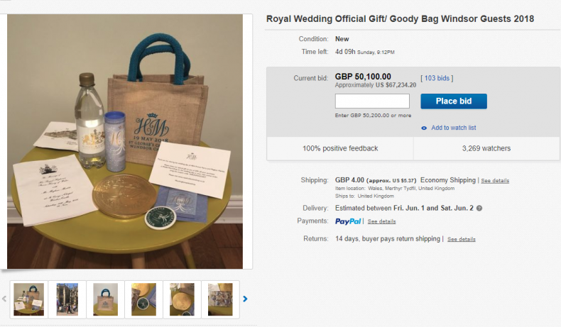 Royal wedding goodie bag