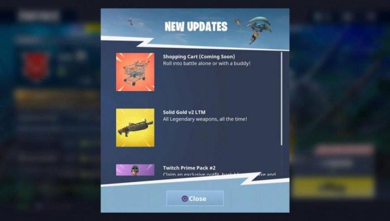 Fortnite shopping cart update