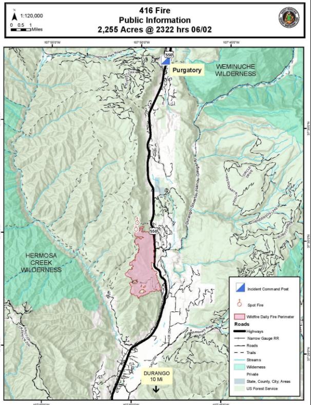 Colorado 416 Fire Map Durango Blaze Spreading Evacuations Continue