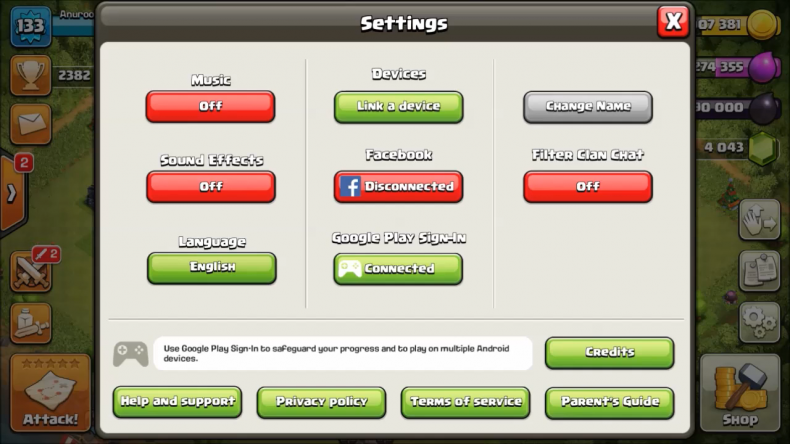 Clash of Clans settings