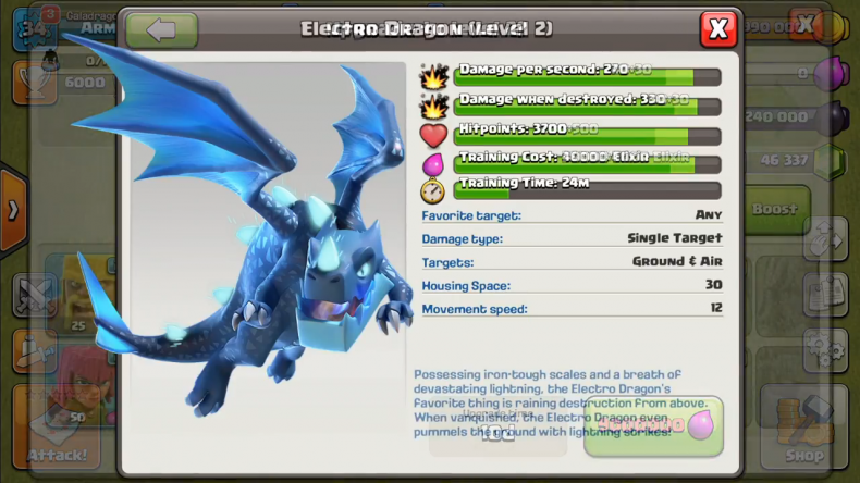 Clash of Clans Electro Dragon stats
