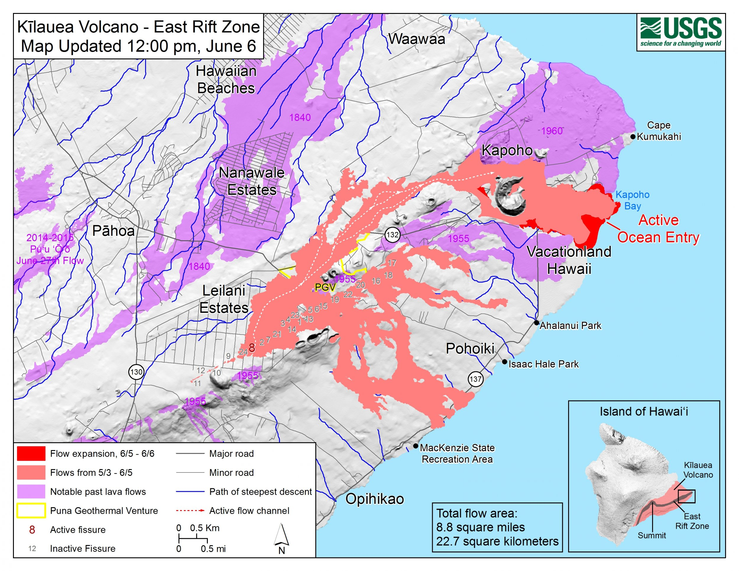hawaii kilauea volcano update explosion usgs lava flow map