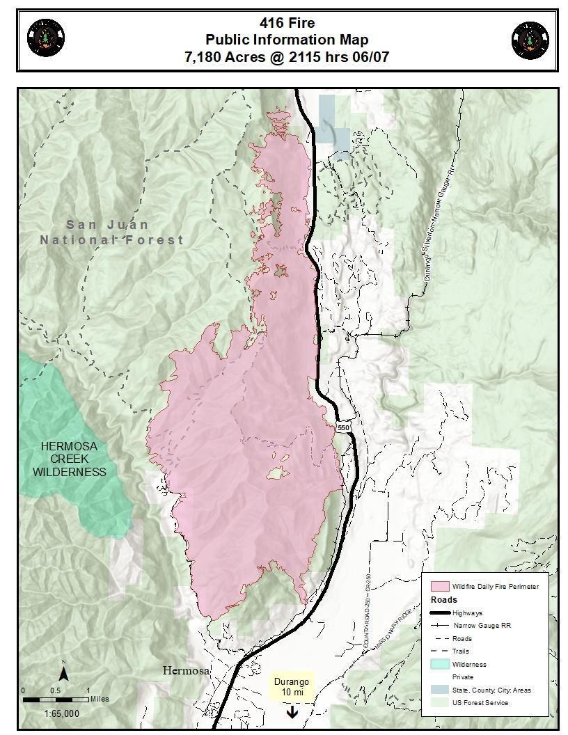 Durango 416 Fire Update 2 250 Acre Colorado Wildfire Growing