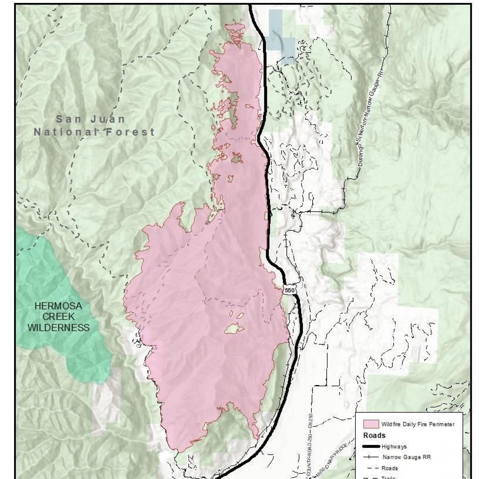 Colorado 416 Fire Map Update: Durango Fire Grows 40 Percent