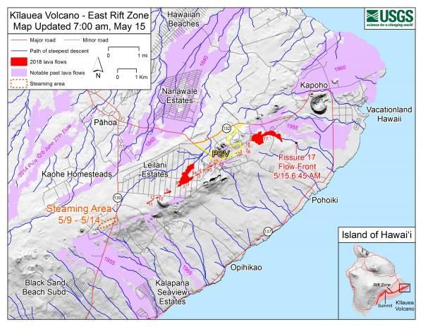 Hawaii Map Lava.Kilauea Volcano Update Usgs Maps Photos Show How Lava Coverage Has
