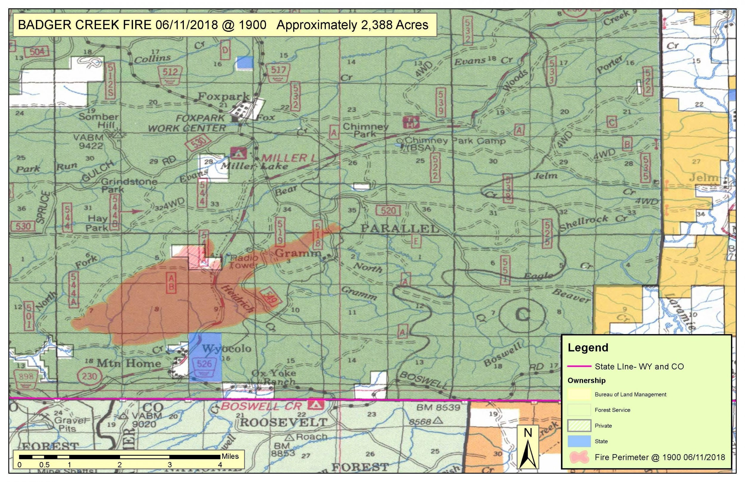 Wyoming Badger Creek Fire: Pre-Evacuations and Evacuations Ordered
