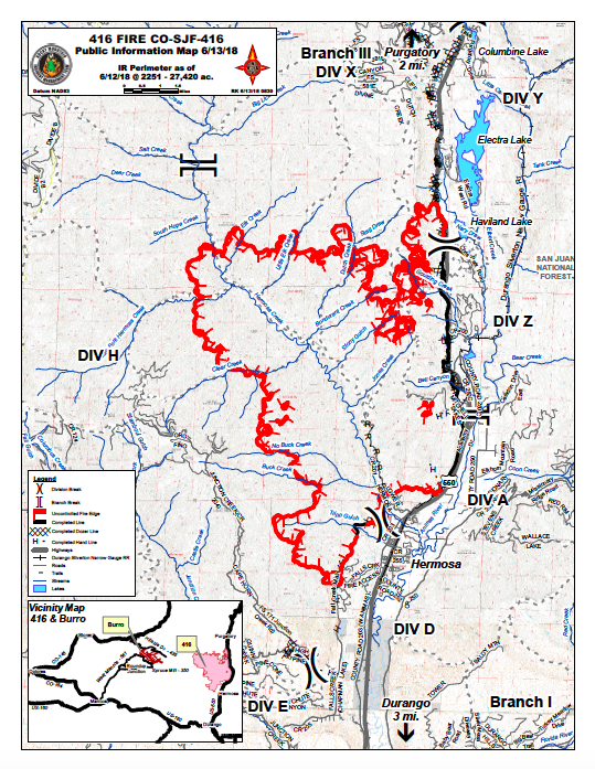 Colorado 416 Fire Map Update: Durango Fire Spreads to 27,420 Acres