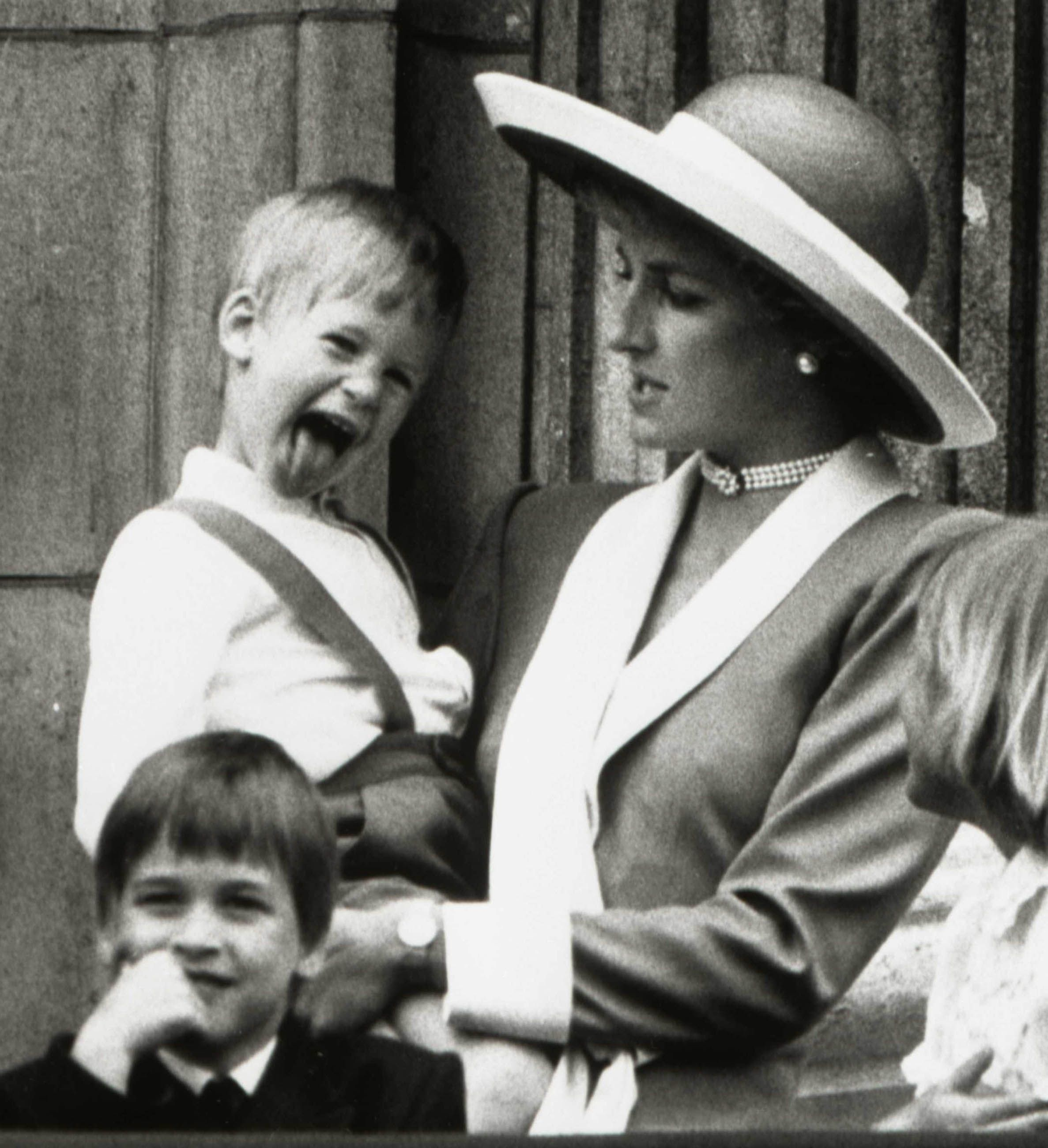 Prince Harry and William with Princess Diana