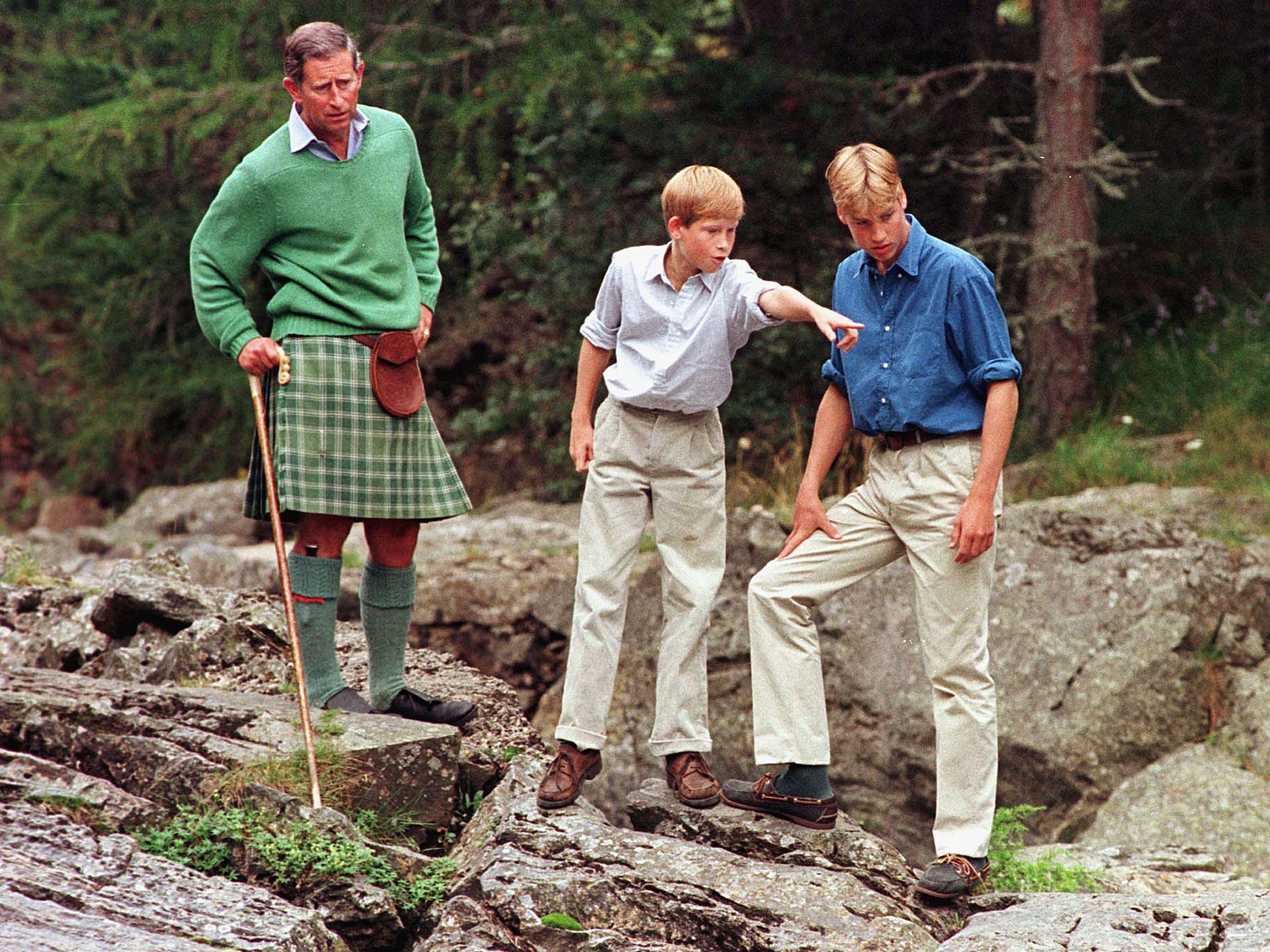 Princes William and Harry with their father, Prince Charles
