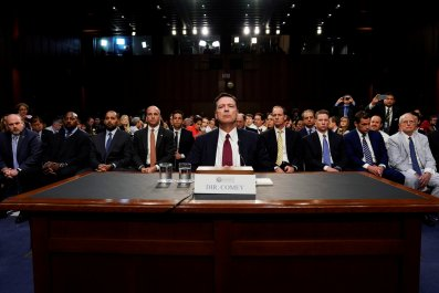 Former FBI Director James Comey testifies before a Senate Intelligence Committee hearing on Russia's alleged interference in the 2016 U.S. presidential election on Capitol Hill in Washington, U.S., June 8, 2017.