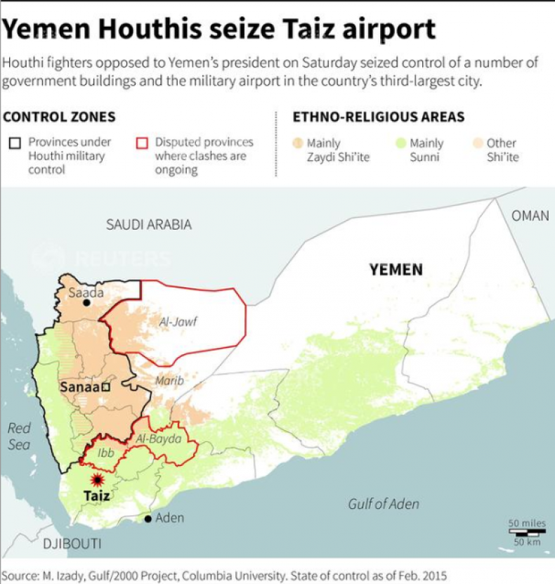 Map of Yemen showing control zones and ethno-religious areas, locating city of Taiz where Houthi fighters seized the military airport from local authorities on Saturday.