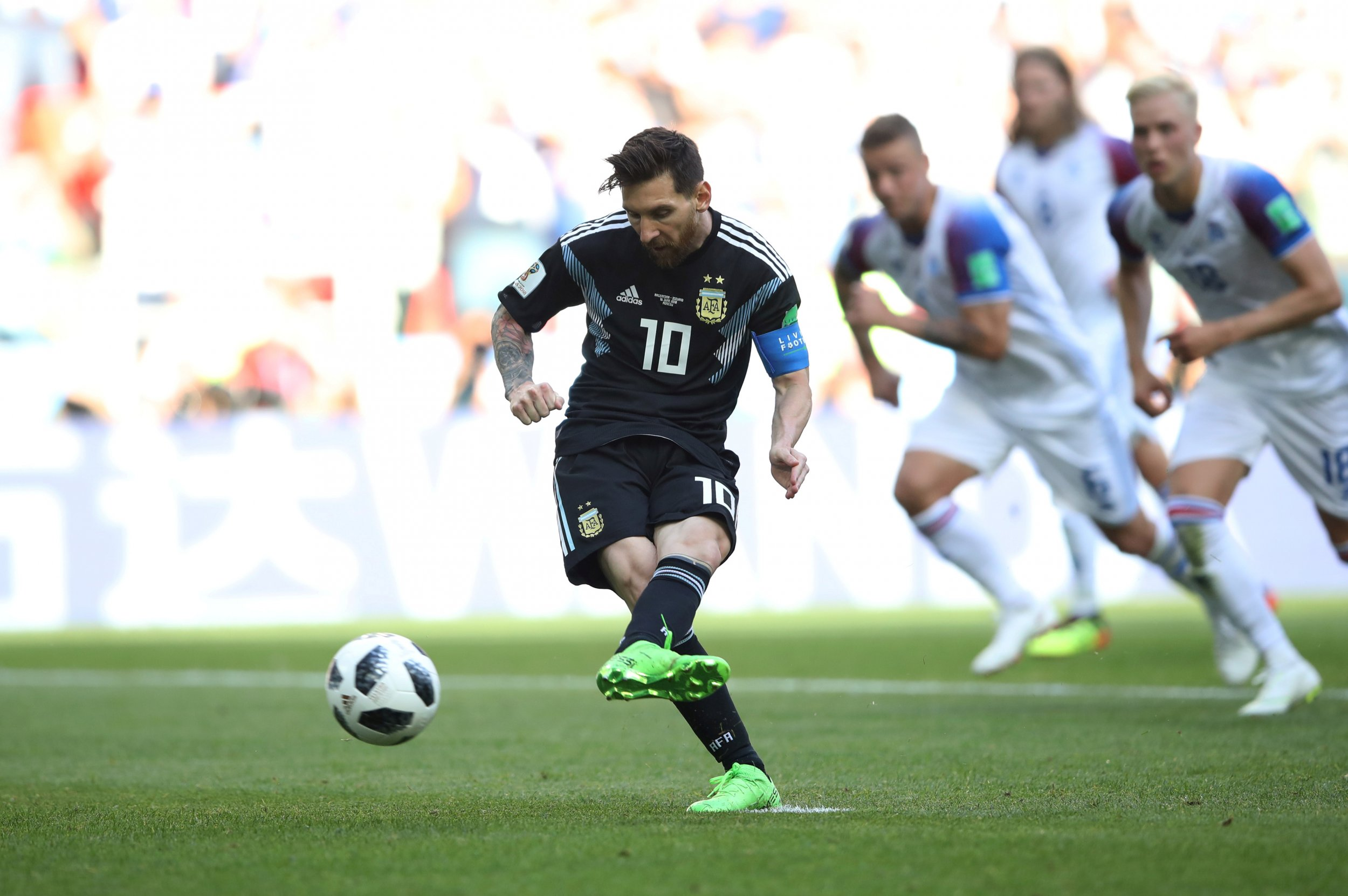 Argentina's Lionel Messi misses a penalty kick against Iceland on June 16