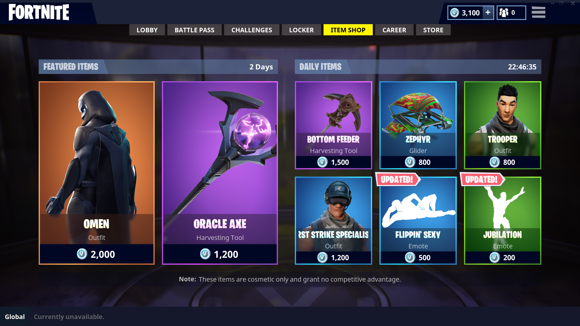 Omen Item Shop June 16