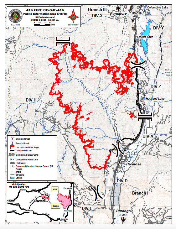 Colorado 416 Fire Map Update Durango Fire Spreads To 34 161 Acres