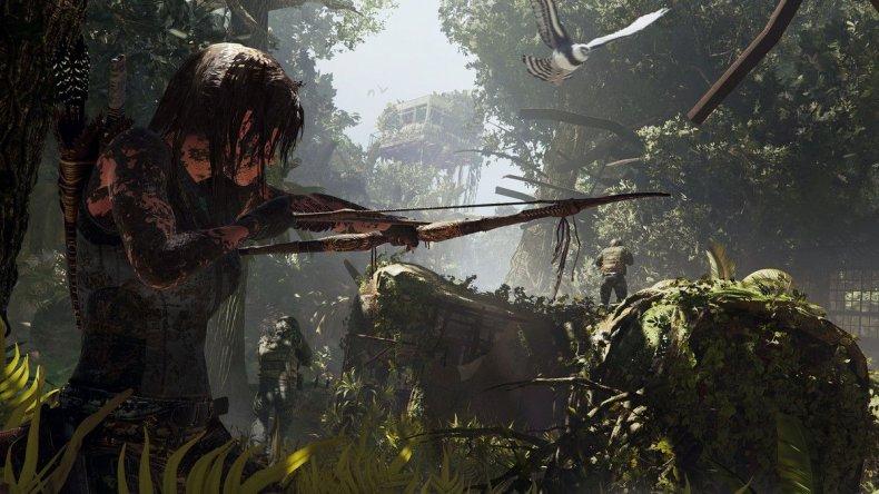 Lara Croft takes aim