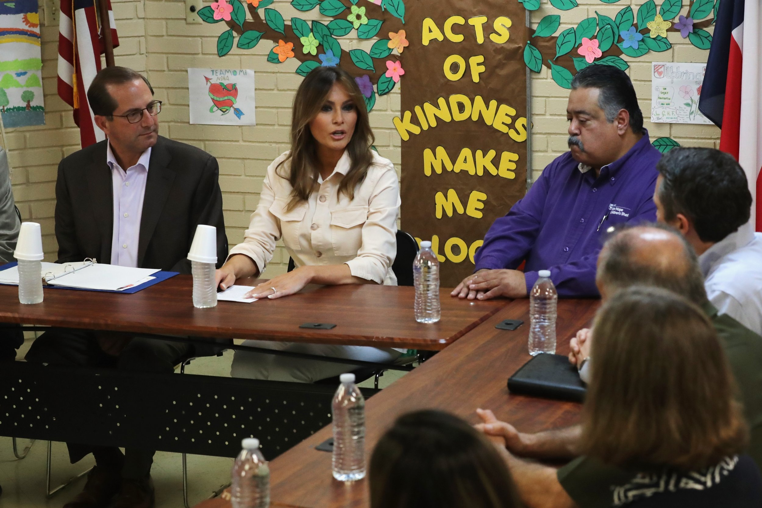 Trump Round Table.Melania Trump Visits Immigrant Children At Border After Telling