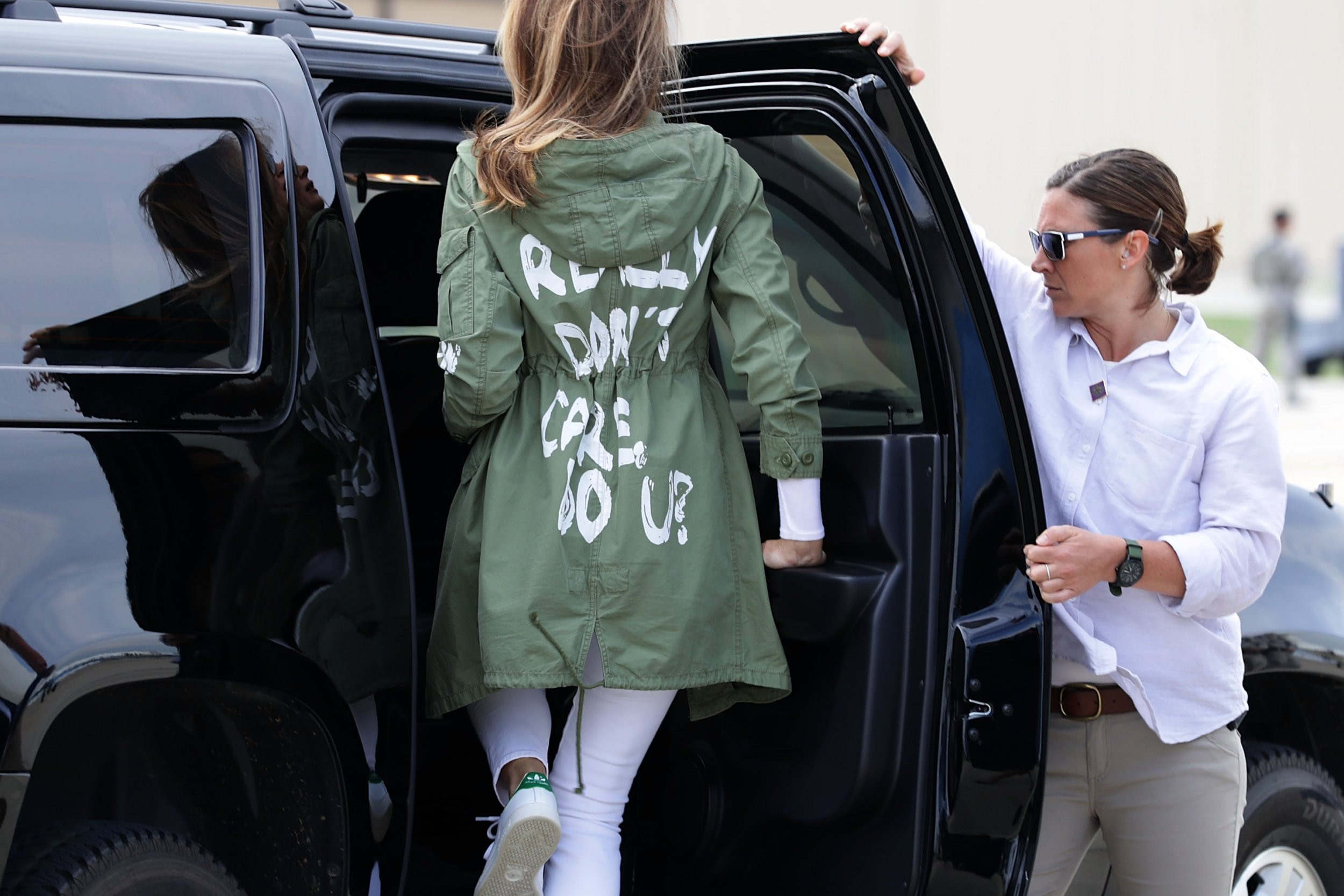 Health Care Administration >> Melania Trump Puts 'I Really Don't Care, Do U?' Jacket Back On After Returning From Migrant ...
