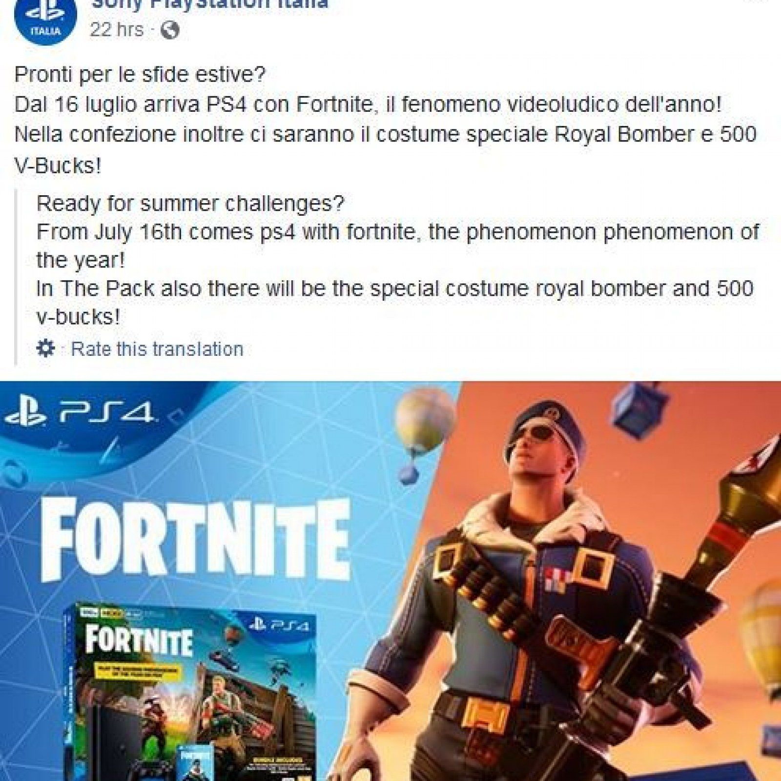 Fortnite' PS4 Bundle Leaks - Includes 500 V-Bucks & Royale Bomber Skin