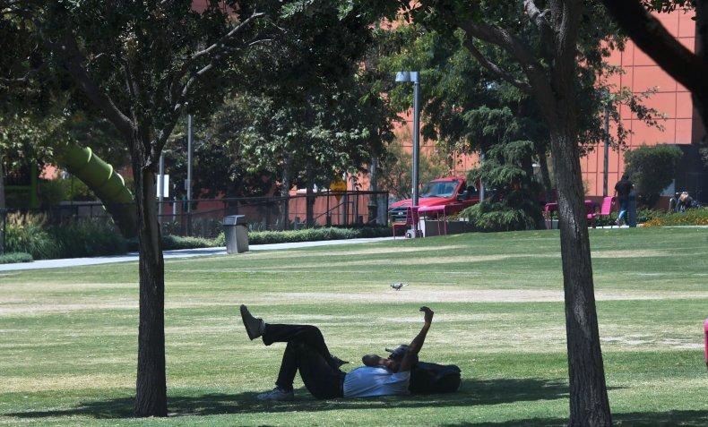 sitting in shade