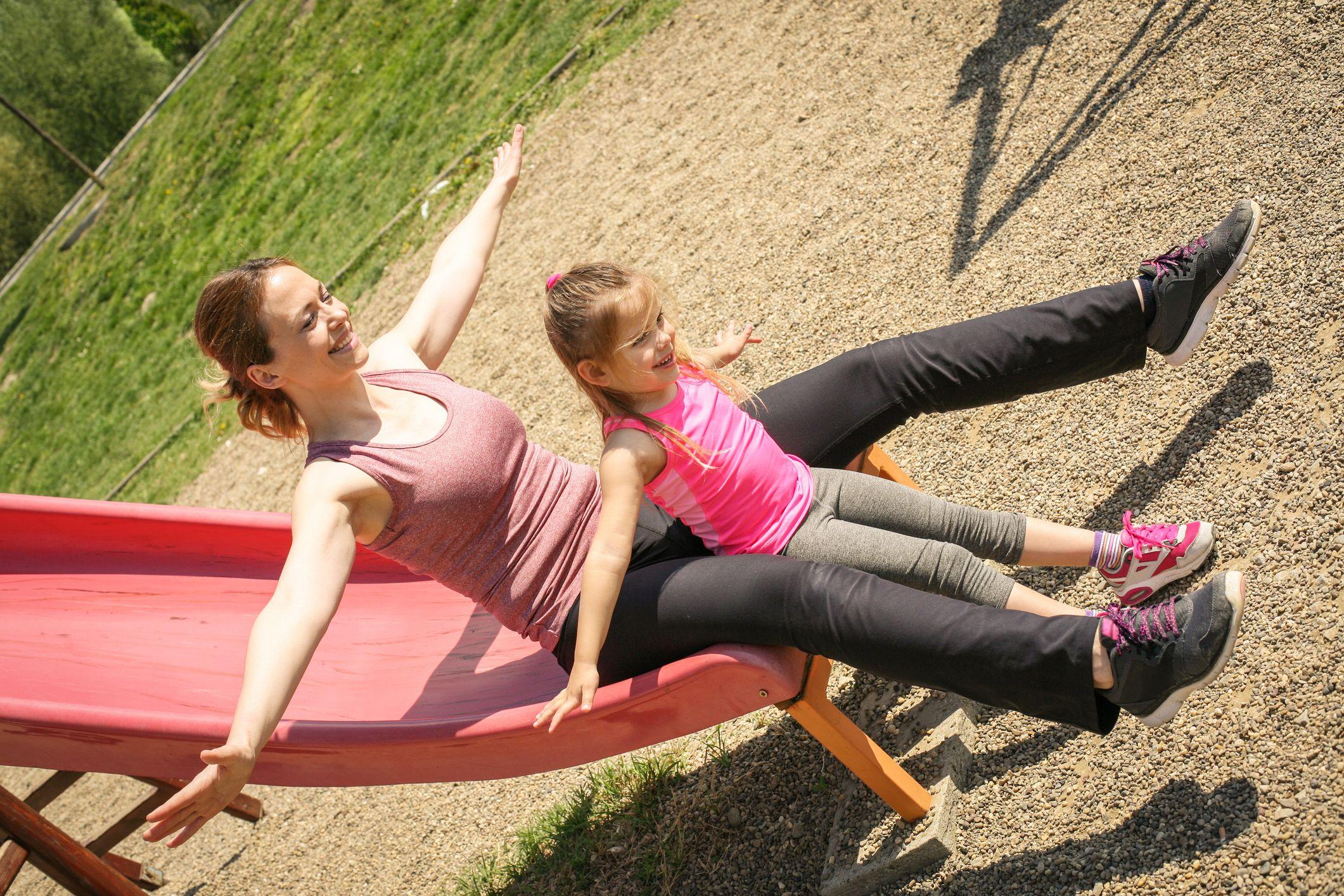 slide-parent-child-playground-stock